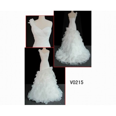 V0215 beautiful netting elegant one-shoulder wedding gown guangzhou designer hot sell
